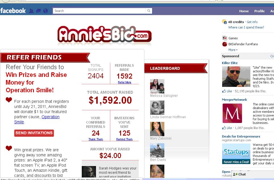 AnniesBid Facebook App Dashboard