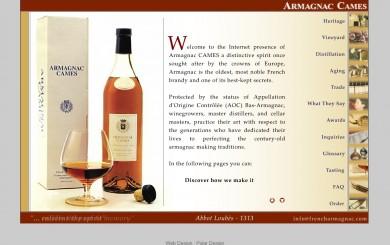 Armagnac Cames Website Home Page Screenshot