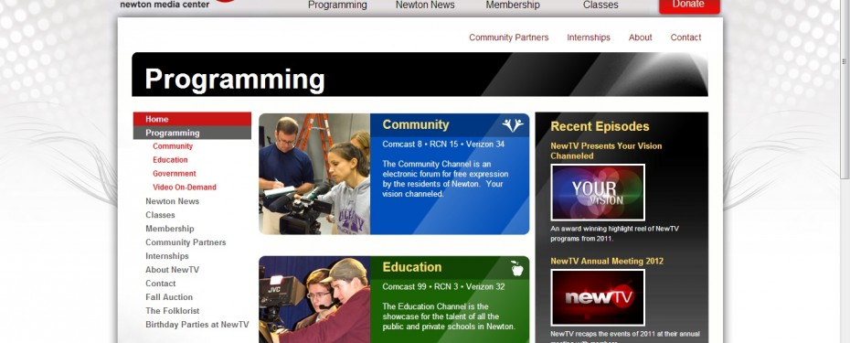NewTV Public Access TV Programming Section