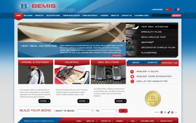 Bemis Worlwide's redesigned B2B web site home page