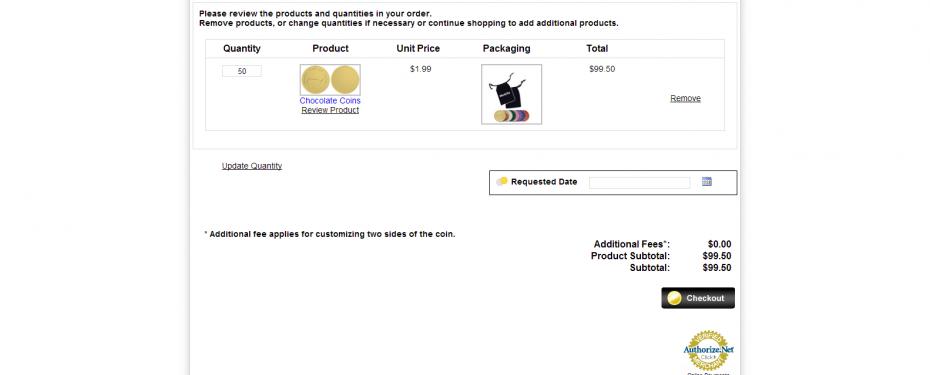 Custom e-commerce shopping cart system