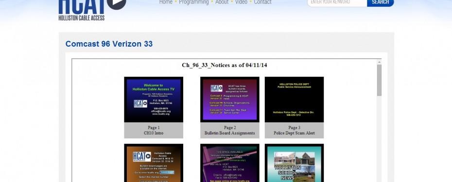 Holliston Cable Access TV Web Based Bulletin Board