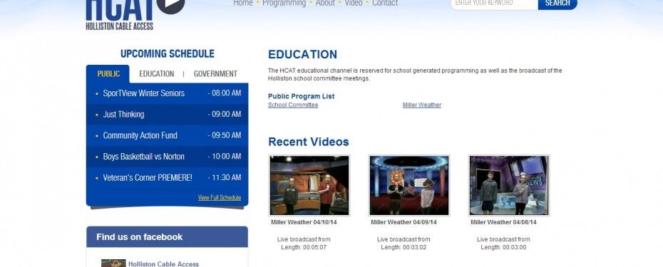 Holliston Cable Access TV Video Channel Page