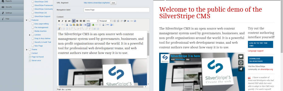 SilverStripe 3.1 split screen editing mode